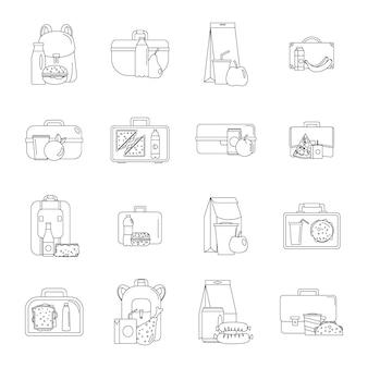Conjunto de iconos de comida lonchera