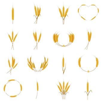 Conjunto de iconos de comida de maíz de oreja, estilo de dibujos animados