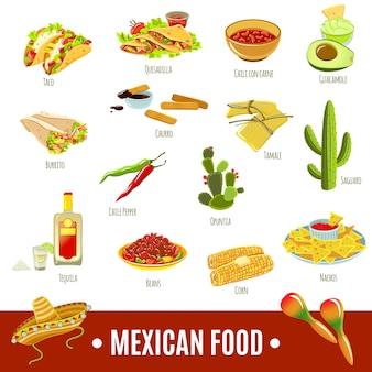Conjunto de iconos de comida mexicana