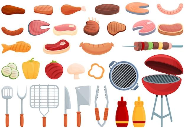 Conjunto de iconos de comida a la parrilla. conjunto de dibujos animados de iconos de vector de comida a la parrilla para diseño web