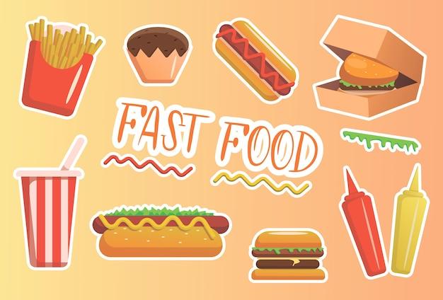 Conjunto de iconos de comida rápida de dibujos animados coloridos.