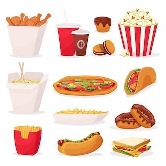Conjunto de iconos de comida rápida de dibujos animados sobre fondo blanco
