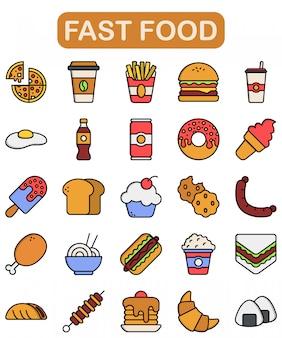 Conjunto de iconos de comida rápida, estilo de color lineal