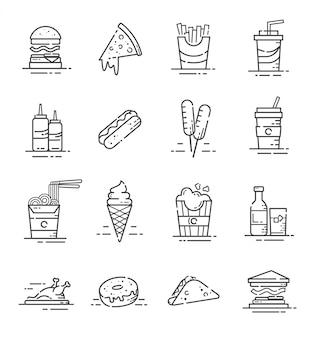 Conjunto de iconos de comida rápida con estilo de contorno