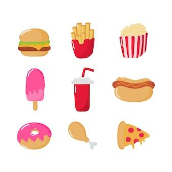 Conjunto de iconos de comida rápida estilo de dibujos animados aislado