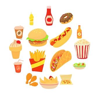 Conjunto de iconos de comida rápida, estilo de dibujos animados