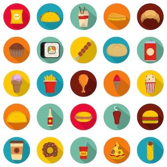 Conjunto de iconos de comida rápida, estilo plano