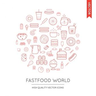 Conjunto de iconos de comida rápida moderna plana delgada inscrita en forma redonda