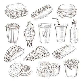 Conjunto de iconos de comida rápida vintage dibujado a mano.