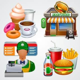 Conjunto de iconos de comida rápida.