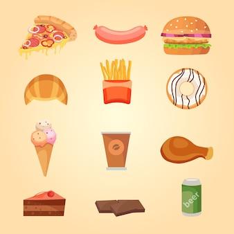 Conjunto de iconos de comida.