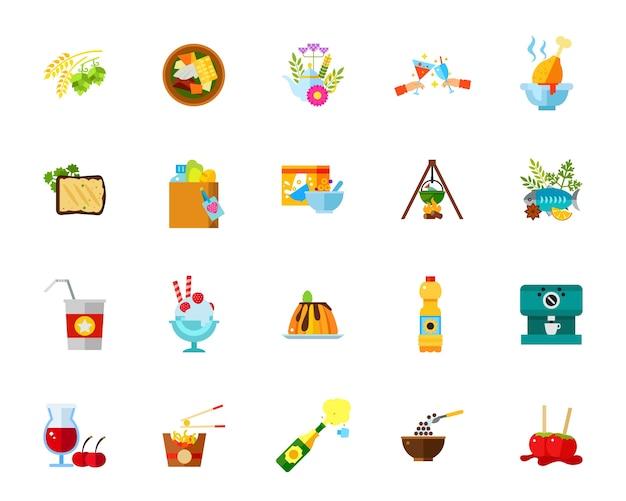 Conjunto de iconos de comidas