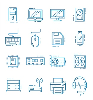 Conjunto de iconos de componentes de computadora con estilo de contorno