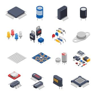Conjunto de iconos de componentes semiconductores