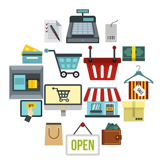 Conjunto de iconos de compras, estilo plano