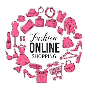 Conjunto de iconos de compras de moda en línea