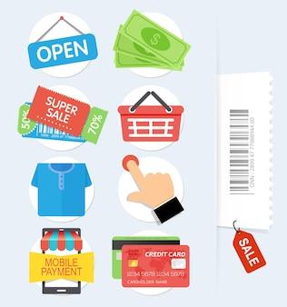 Conjunto de iconos de compras planas