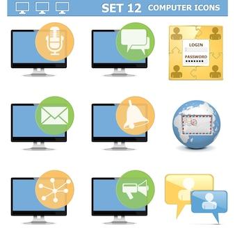 Conjunto de iconos de computadora aislado en blanco