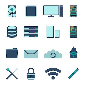 Conjunto de iconos de computadora y base de datos. ilustración vectorial plana