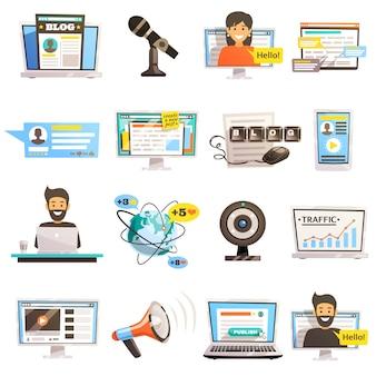 Conjunto de iconos de comunicaciones de la blogósfera