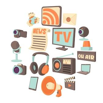 Conjunto de iconos de comunicaciones de medios, estilo de dibujos animados