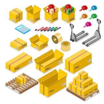 Conjunto de iconos de concepto de almacén de entrega de almacenamiento de caja de mercancías de caja.