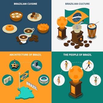 Conjunto de iconos de concepto de brasil