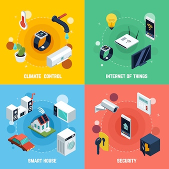 Conjunto de iconos de concepto de casa inteligente