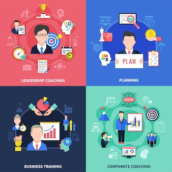 Conjunto de iconos de concepto de coaching