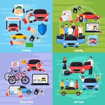 Conjunto de iconos de concepto de coche compartido