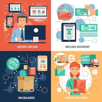 Conjunto de iconos de concepto de comercio electrónico