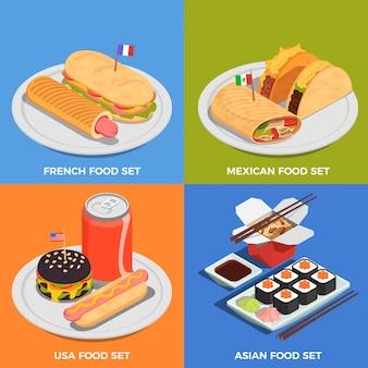 Conjunto de iconos de concepto de comida en la calle