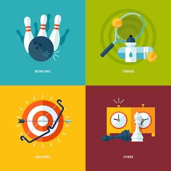Conjunto de iconos de concepto para deportes. iconos para jugar bolos, tenis, tiro con arco, ajedrez.
