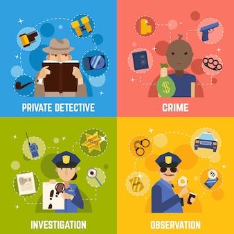 Conjunto de iconos de concepto de detective privado