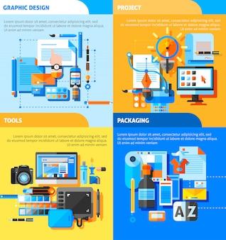Conjunto de iconos de concepto de diseño gráfico