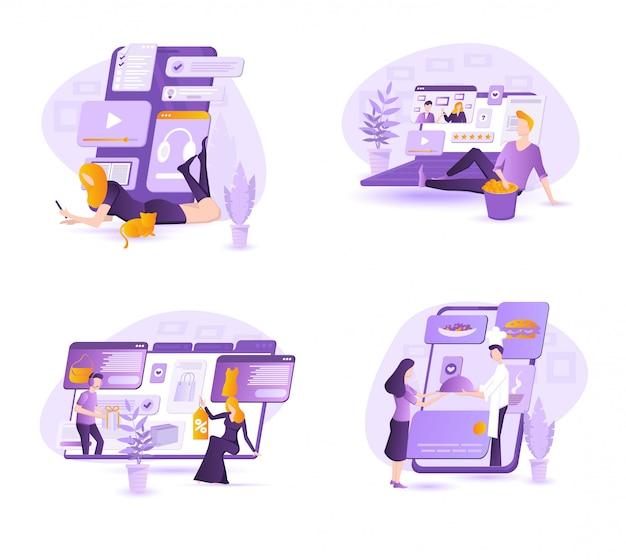 Conjunto de iconos de concepto de diseño plano para aplicaciones y servicios web y de telefonía móvil. iconos para marketing móvil, marketing por correo electrónico, video marketing y marketing digital.