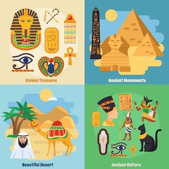 Conjunto de iconos de concepto de egipto
