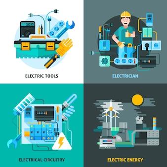 Conjunto de iconos de concepto de electricidad