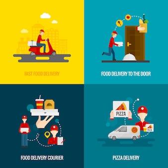 Conjunto de iconos de concepto de entrega de alimentos