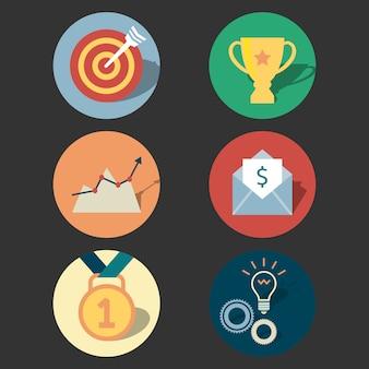 Conjunto de iconos de concepto de éxito