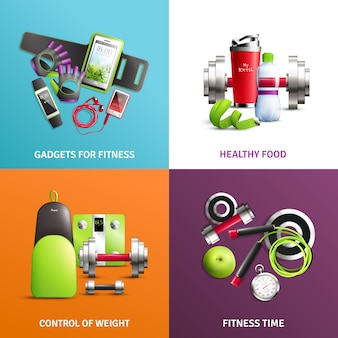 Conjunto de iconos de concepto de gimnasio de fitness