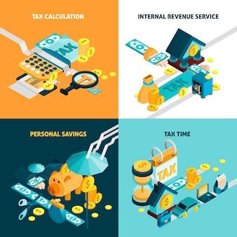 Conjunto de iconos de concepto de impuestos