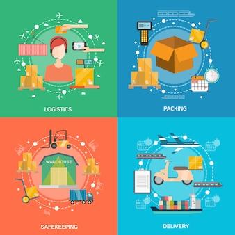 Conjunto de iconos de concepto de logística