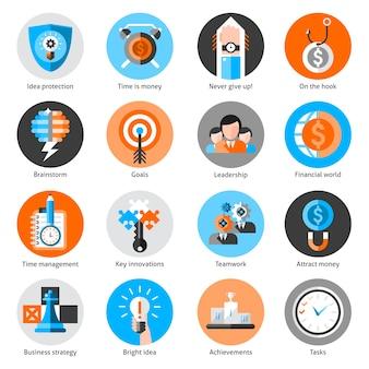 Conjunto de iconos de concepto de negocio