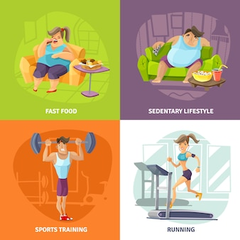 Conjunto de iconos de concepto de obesidad y salud