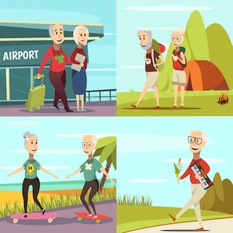 Conjunto de iconos de concepto de personas mayores