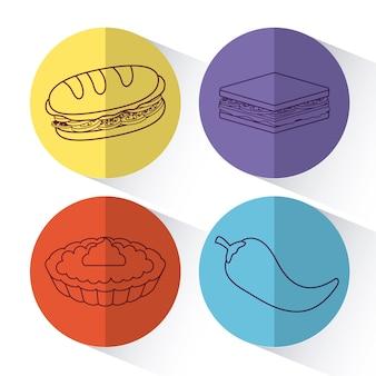 Conjunto de iconos de concepto de picnic sobre círculos de colores y fondo blanco, ilustración vectorial