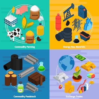 Conjunto de iconos de concepto de productos básicos