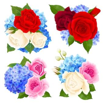 Conjunto de iconos de concepto de ramo de rosas