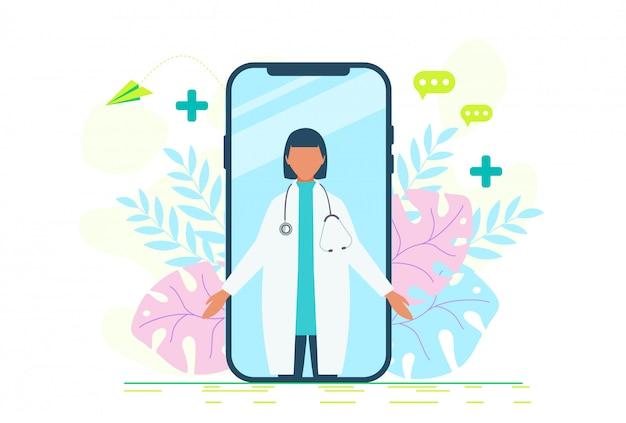Conjunto de iconos de concepto de salud de mujeres médico en línea. doctor videocalling en un teléfono inteligente. servicios médicos en línea, consulta médica. conjunto de iconos de concepto de salud de mujeres médico en línea.